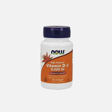 Vitamina D-3 5000IU – 120 cápsulas – Now