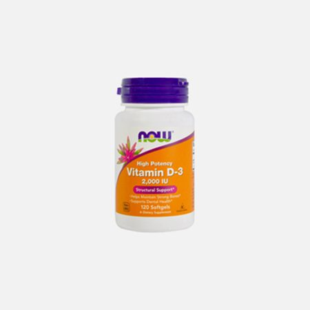 Vitamina D-3 2000IU – 120 cápsulas – Now