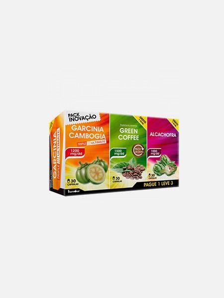 Pack Garcinia Triple Ultimate - Garnicinia Cambogia + Green Coffee + Alcachofra - 30+30+30 cápsulas - Fharmonat