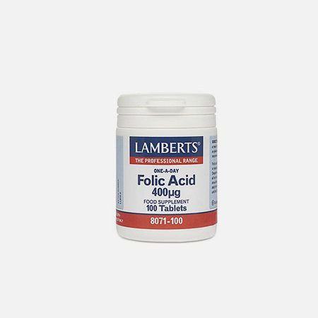 Folic Acid (Ácido fólico) 400µg – 100 comprimidos – Lamberts