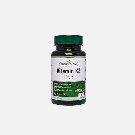 Vitamina K2 + D3 – 30 cápsulas – Natures Aid
