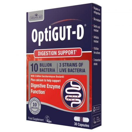 OptiGut-D (10 Billion Bacteria) – 30 cápsulas – Natures Aid
