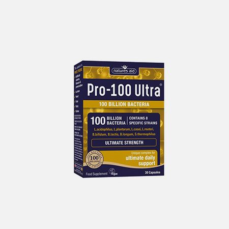 Pro-100 Ultra (100 Billion Bacteria) – 30 cápsulas – Natures Aid