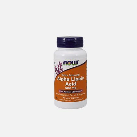 Alpha Lipoic Acid, Extra Strength 600 mg – 60 cápsulas – Now