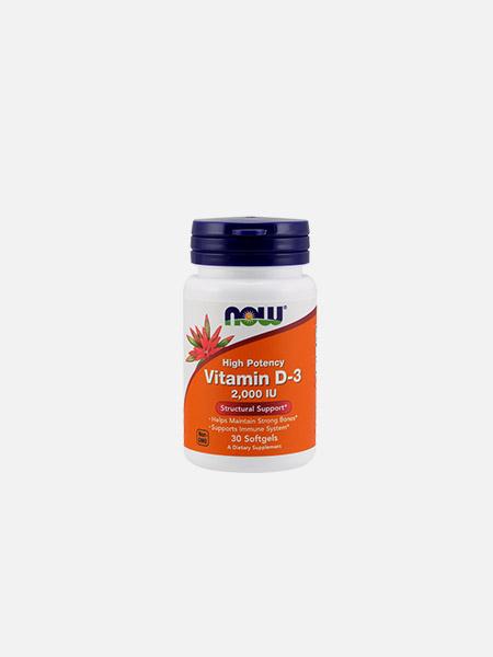 Vitamin D-3 2000 IU - 30 cápsulas - Now