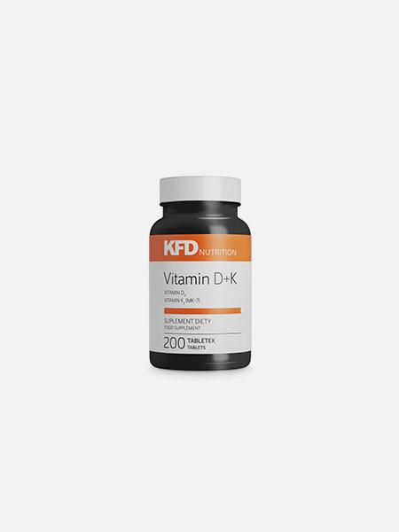 Vitamina D3 mais K2 - 200 comprimidos - KFD Nutrition