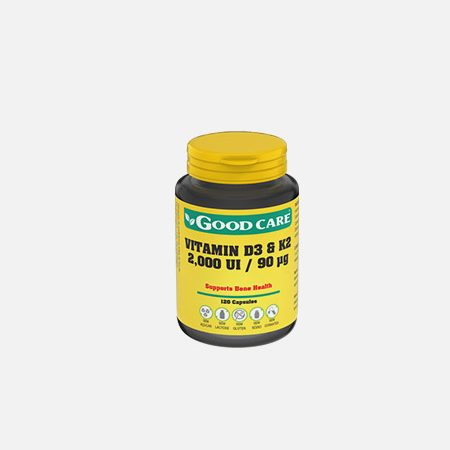 VITAMIN D3 & K2 2000 ui 90 μg – 120 cápsulas – Good Care