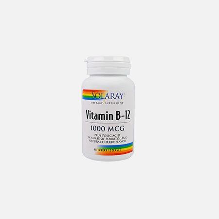 Vitamina B12 lozangos c/ ácido fólico – 90 comprimidos – Solaray
