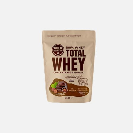 Total Whey sabor Chocolate-Avelã – 260g – Gold Nutrition
