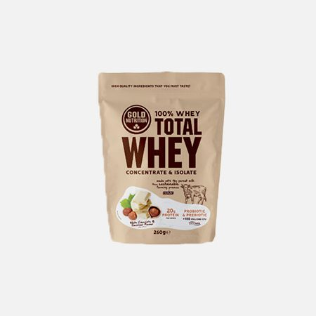Total Whey sabor Chocolate Branco-Avelã – 260g – Gold Nutrition