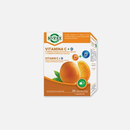 Vitamina C 500mg + Vitamina D 4000UI – 30 cápsulas – Sovex