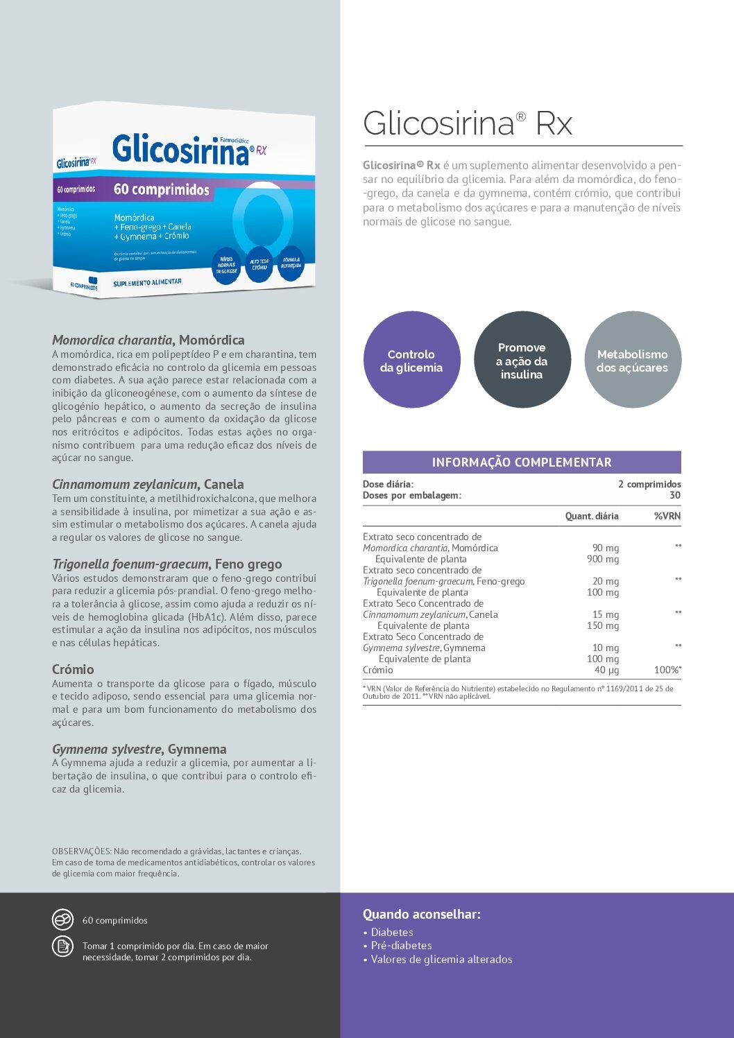 Glicosirina Rx – 60 comprimidos – Farmodiética