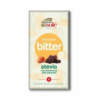CHOCOLATE NEGRO 72% con almendra y stevia 100gr.