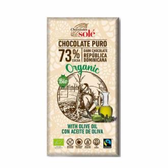 CHOCOLATE NEGRO 73% con aceite de oliva 100gr.