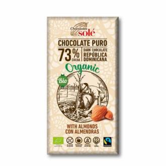 CHOCOLATE NEGRO 73% con almendras 150gr.