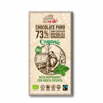 CHOCOLATE NEGRO 73% con menta 100gr.