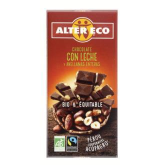 CHOCOLATE CON LECHE Y AVELLANAS enteras 100gr. BIO