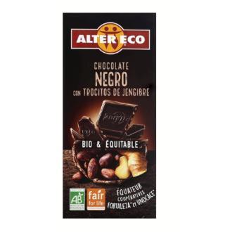 CHOCOLATE NEGRO con trocitos de jengibre 100gr BIO