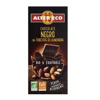CHOCOLATE NEGRO con trocitos de almendras 100g BIO