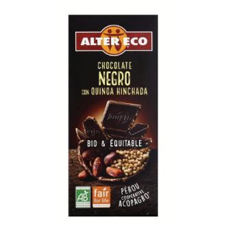 CHOCOLATE NEGRO con quinoa hinchada100gr.BIO
