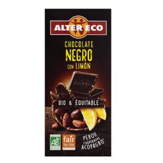 CHOCOLATE NEGRO con limon 100gr. BIO