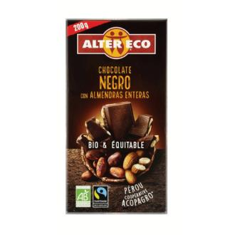 CHOCOLATE NEGRO con almendras enteras 200gr. BIO