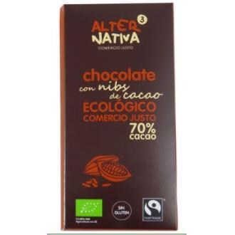 CHOCOLATE 70% CACAO con nibs de cacao 80gr. ECO