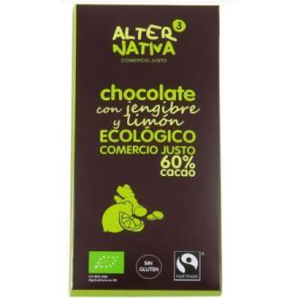 CHOCOLATE 60% CACAO con jengibre y limon 80gr. ECO