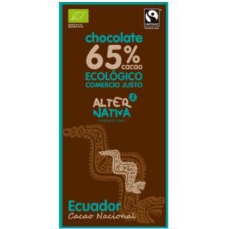 CHOCOLATE 65% CACAO  ecuador 80gr. ECO