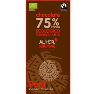 CHOCOLATE 75% CACAO peru 80gr. ECO